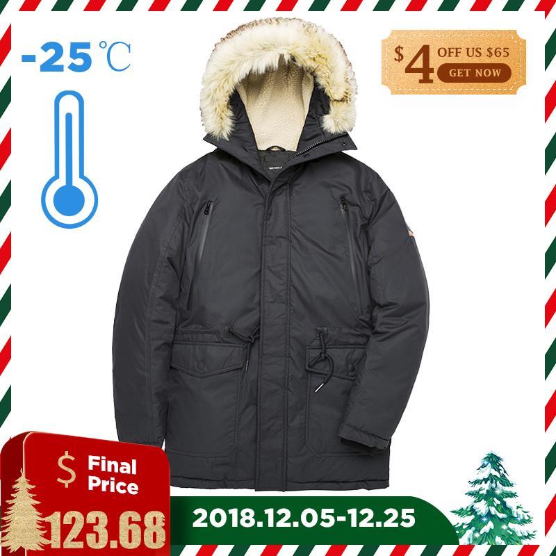Тигр сила-30 градусов Для мужчин зимняя куртка средней длины утепленная парка с капюшоном тонкий теплое пальто искусственный меховой воротн...