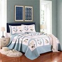 3 шт. синий белый цветок крышка набор постельных принадлежностей 100% хлопок свежий одеяло покрывало + наволочки серый лоскутное американский