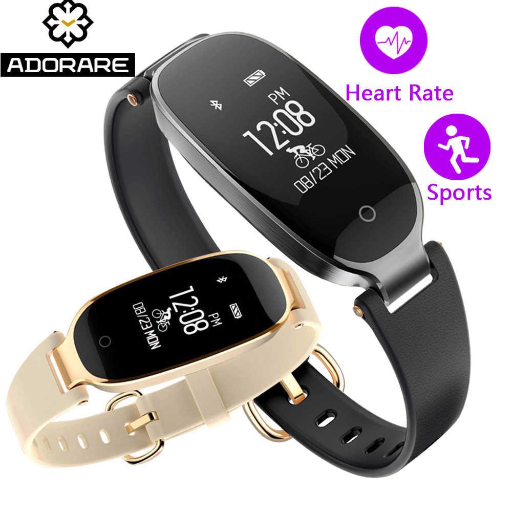 c05feacc08a4 S3 Bluetooth inteligente reloj de las mujeres Personal pulsera Fitness  pulsera Monitor de ritmo cardíaco pulsera reloj para Android IOS
