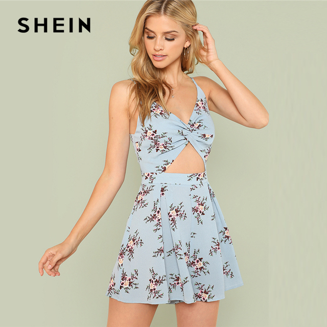976e98eb9743 SHEIN Twist Front Boxed Pleated Floral Cami Romper 2018 Summer Spaghetti  Strap Flower Print Jumpsuit Women