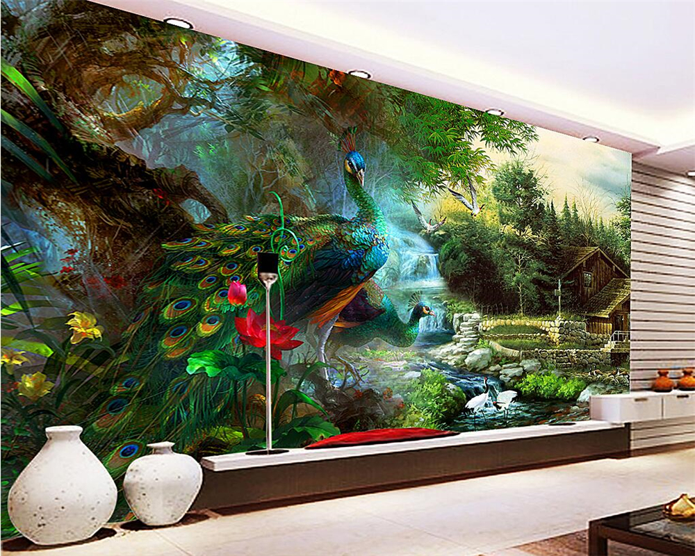 Beibehang  custom wallpaper peacock 3D photo wall mural wallpaper bedroom living room  wallpaper for walls 3 d papel de parede custom children wallpaper multicolored crayons 3d cartoon mural for living room bedroom hotel backdrop vinyl papel de parede