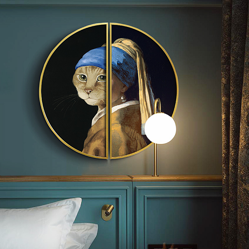 Cat portraits American luxury Porch decorative painting Round Creative abstract home semicircular mural wall decoration
