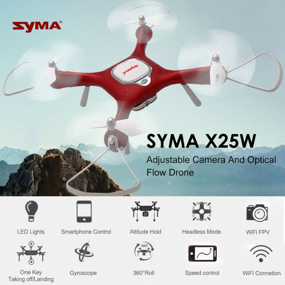 купить Syma X25W RC Drone Adjustable 720P Camera Wifi FPV Drone Altitude Hold Optical Flow Positioning RC Quadcopter Auto Take Off по цене 5711.79 рублей