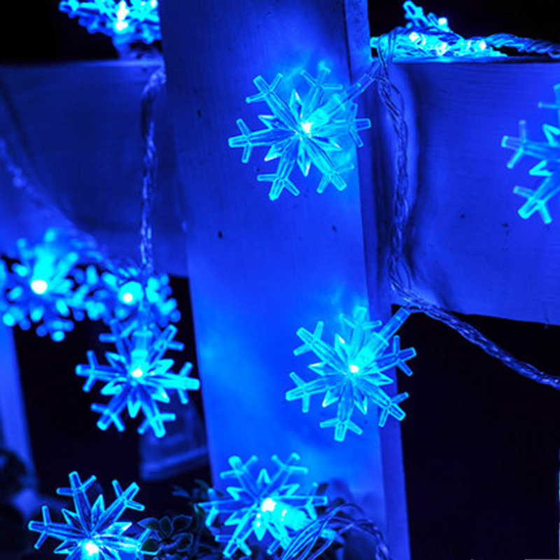 220V EU Plug Icicle Snowflake LED String Lights Christmas 10m 100 Led Fairy Light Holiday Party ...