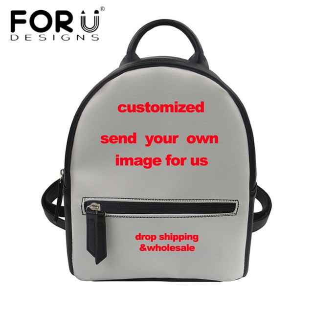 c7a3d69ec23 FORUDESIGNS 2018 Fashion Small Women Backpack for Women Girls Customize  Your Image Luxury PU Leather School