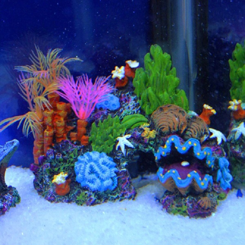 Beautiful colorful aquarium artificial mounted decor for Aquarium decoration set