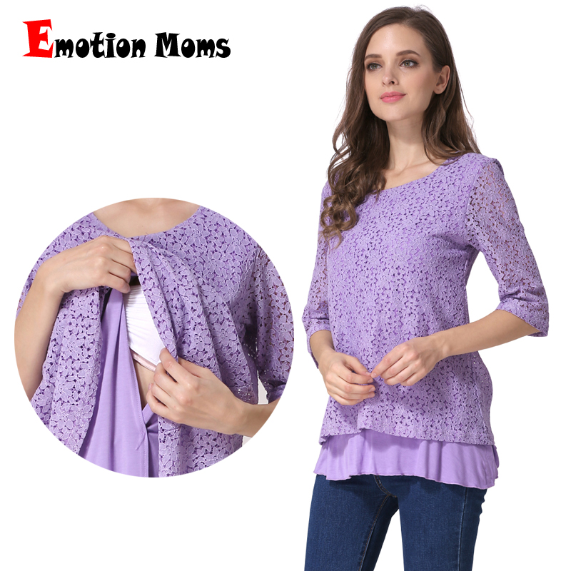 Emotion Moms New 3/4 Sleeve Lace Maternity Clothes Nursing top pregnancy Breastfeeding tops for Pregnant Women Maternity T-shirt michael kors women s 3 4 sleeve cowl neck top shirt
