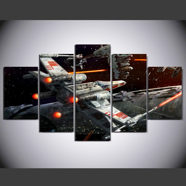 3 Piece Art Oil Canvas Star Wars X Wing Wall Art Painting