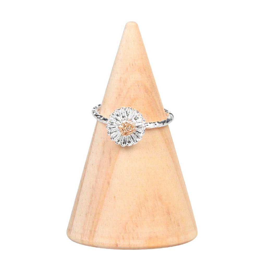Натуральный Неокрашенный деревянный кольцо стойка для показа держатель формы конуса Органайзер
