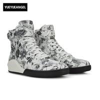Осень новинка; Мужская обувь Кружево на шнуровке удобные дышащие для Для мужчин ботинки из натуральной кожи в стиле панк с цветочным принто