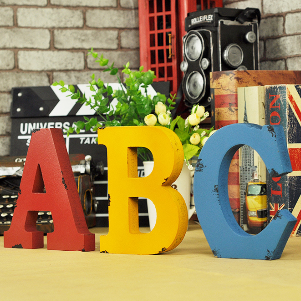 Home Decoration Retro English Alphabet Ornament Letters Figurines Desk Decor Wooden Crafts Party Decoration For Kids Toys Gift