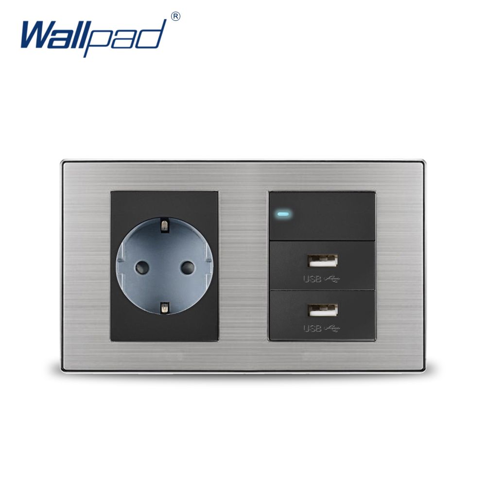 2018 Wallpad EU German Socket & 1 Gang 2 Way Switch & 2 USB Charger 5V 1000mA Wall Power Charger Satin Metal Panel 15a 16a south africa socket and double ubs socket wallpad 146 86mm white glass 2 usb ports and 16a sa switched socket with led