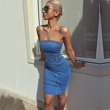 ebee2763ea Women sexy off shouder strapless denim tube dress Summer mini short dress  Casual slim bodycon dress Robe Jeans