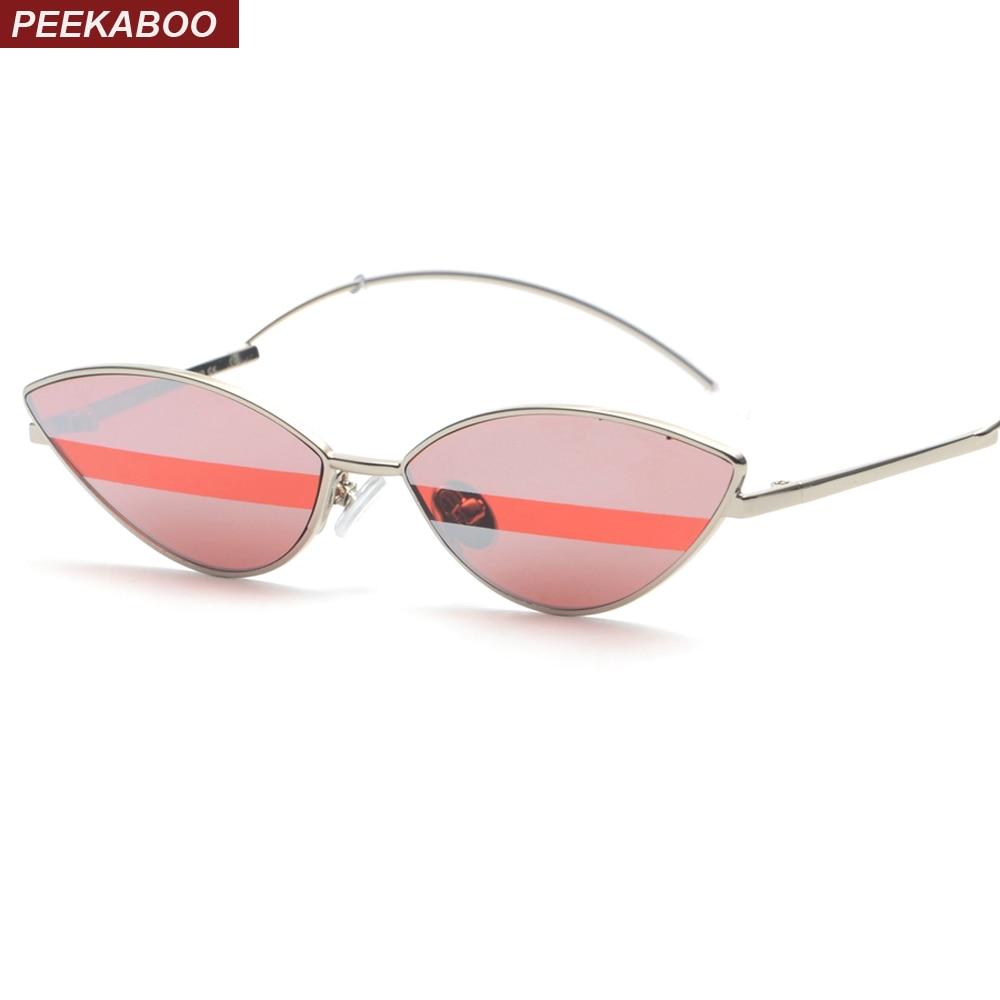 Peekaboo vermelho pequeno óculos de sol das mulheres 2018 moda sexy gato  olho acessórios de metal 602ac0826e