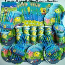 81 pcs Spongebob cup+plate+straw+napkin banner happy birthday kids baby shower paper Party Decoration Set Theme Supplies
