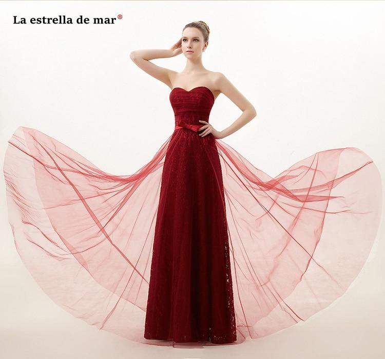Vestidos Longos Para Festa De Casamento New Tulle Lace Sexy Sweetheart Backless A Line Burgundy Royal Blue Bridesmaid Dresses