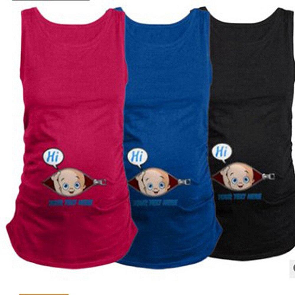 Tees Summer Pregnant Women Sleeveless T-shirts Maternity Tees Clothes Nursing Vest Pregnancy Long Tee Sleeveless female nursing