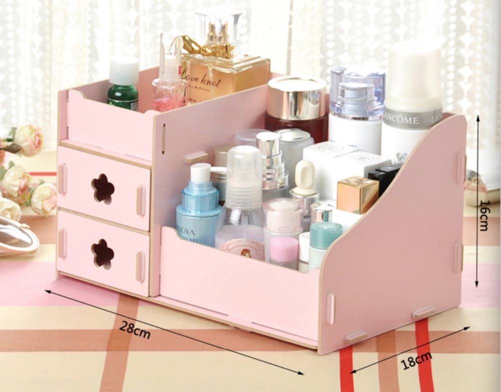 Wooden Multi grid Cosmetic Desktop Makeup Organizer Jewelry Box Cosmetic Storage Box With Drawer Desk Sundries
