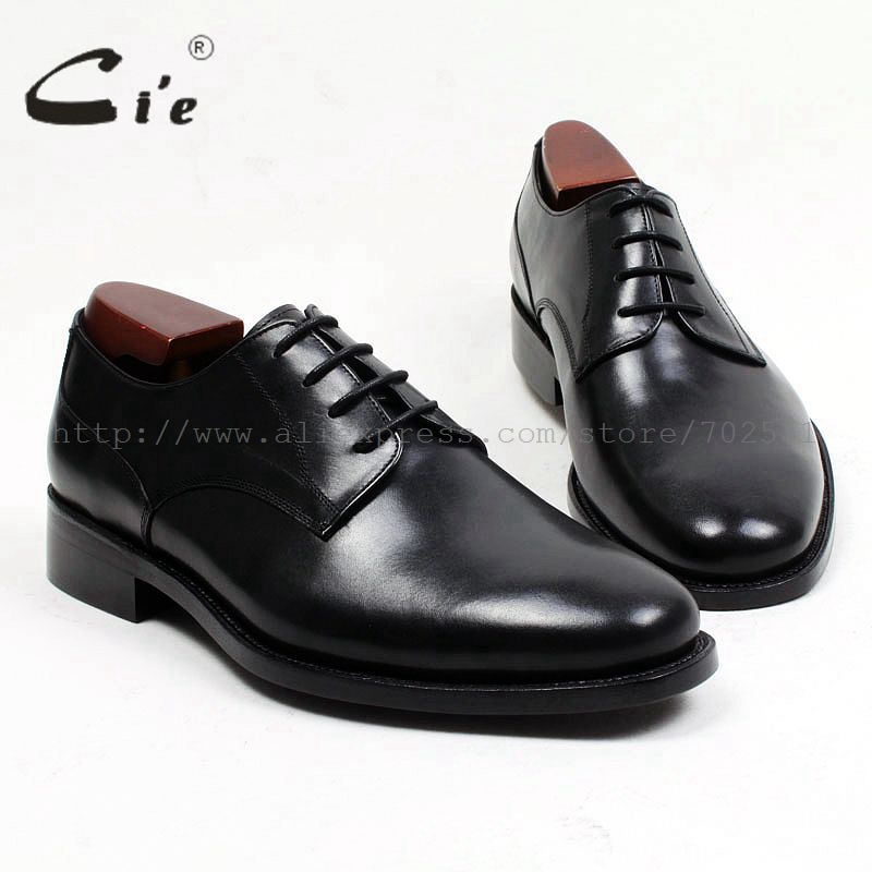 cie Plain Round Toe Custom Bespoke Handmade Pure Genuine Calf Leather outsole Breathable Men's Shoe Derby Office Business D147 obbilly bespoke handmade genuine calf leather upper outsole insole breathable brown cement craft round toe shoe no ox655