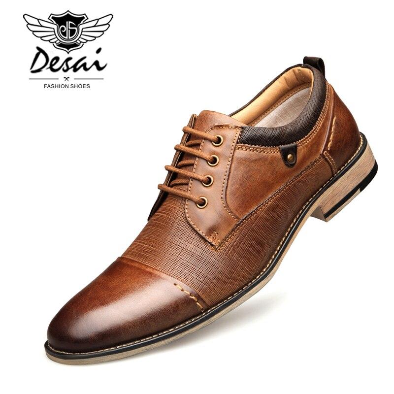 DESAI Nouvelle Arrivée Plus La Taille Chaussures Hommes En Cuir Véritable Dentelle-up En Relief Oxfords Formelles de Robe D'affaires Chaussures Hommes chaussures Appartements