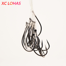 50pcs/box High Carbon Steel Fishing Hook With Lines And Bucket Carp Fly Tackle Peche Fish Worm Jig Lead Head Wire Line Tied Bait