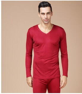 100% mulberry silk Men's silk knitting thickening thermal underwear suit Double sided ribbon and fabrics
