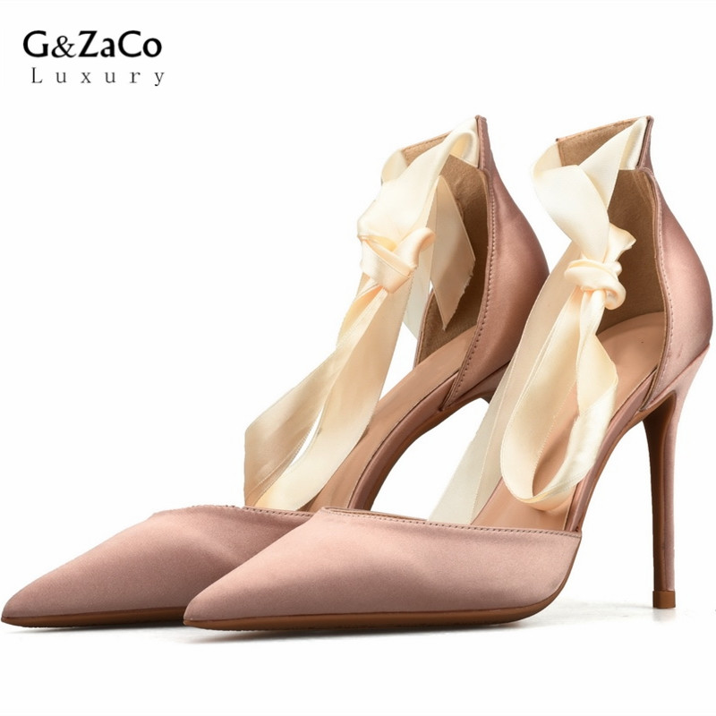 G&Zaco Luxury 2018 Hollow Silk Sandals Sexy Pointed Toe High Heels Shoes Satin Riband Thin Heeled Sandals Women Summer Shoes sexy pointed toe sheepskin leather high heeled shoes straps ankle wrap sandals women thin heels ol summer boots sandals