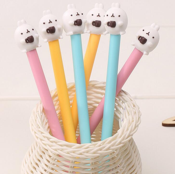 6pcs/lot 0.38mm Novelty Coffee Cup Molang Rabbit Gel Pen Promotional Gift Stationery School & Office Supply