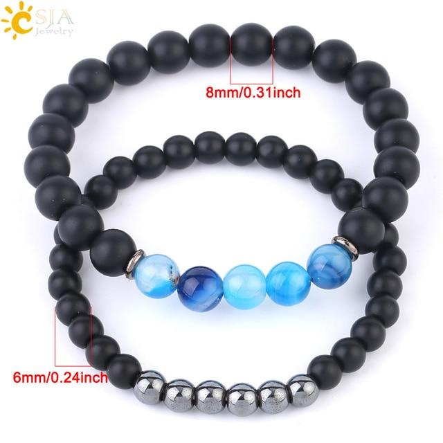 Lovers Gift Men Women Yoga Jewelry Gift Bracelet Natural Stone Bracelet Matte Black Gold Silver Charm Beads Bracelet Grade AAA+6mm