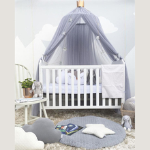 Baby Bed Mosquito Net Dome valance Chiffon Lace Solid Color Crown Princess Bed Canopy Crib Decoration Baby Playpens A052-30
