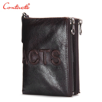 CONTACT'S 2016 New Brand Design Men's Wallet Zipper Pure Purses Brand Leather Genuine Short Wallets Clutch Currencies Bags