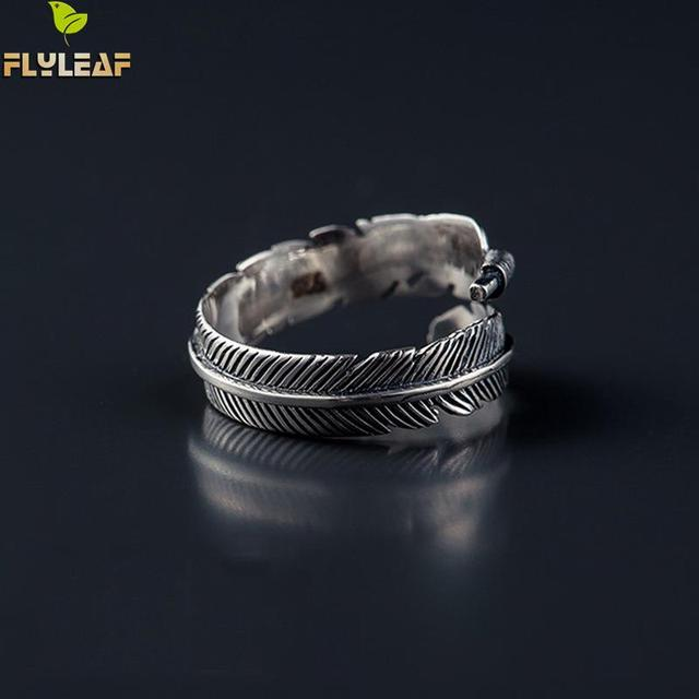 Flyleaf 925 Sterling Silver Do The Old Feather Open Rings For Women Ancient Styl