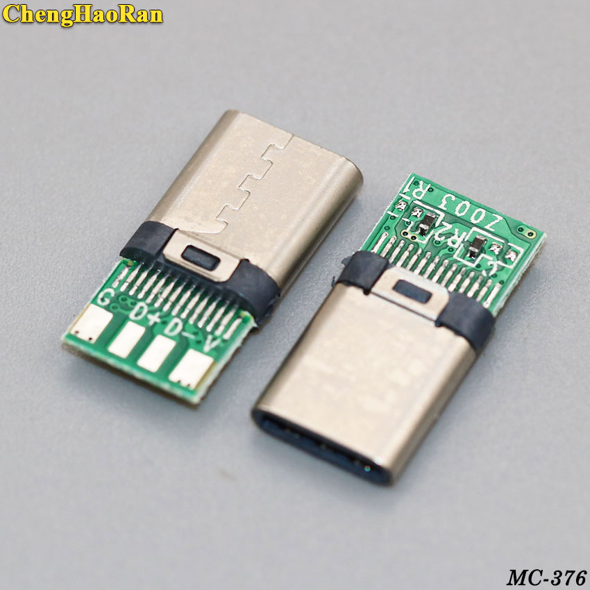 ChengHaoRan 24pin USB 3.1 Socket Connector Type C Male Plug With PC Board Repair Parts