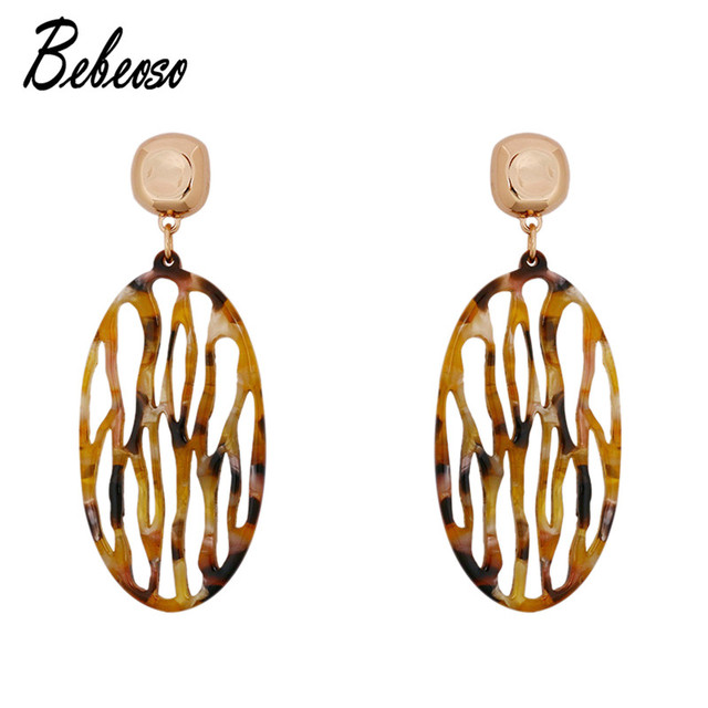 Bebeoso Vintage Acrylic Leopard Print Earrings For Women Round Hollow Gold Color Party Drop Dangle