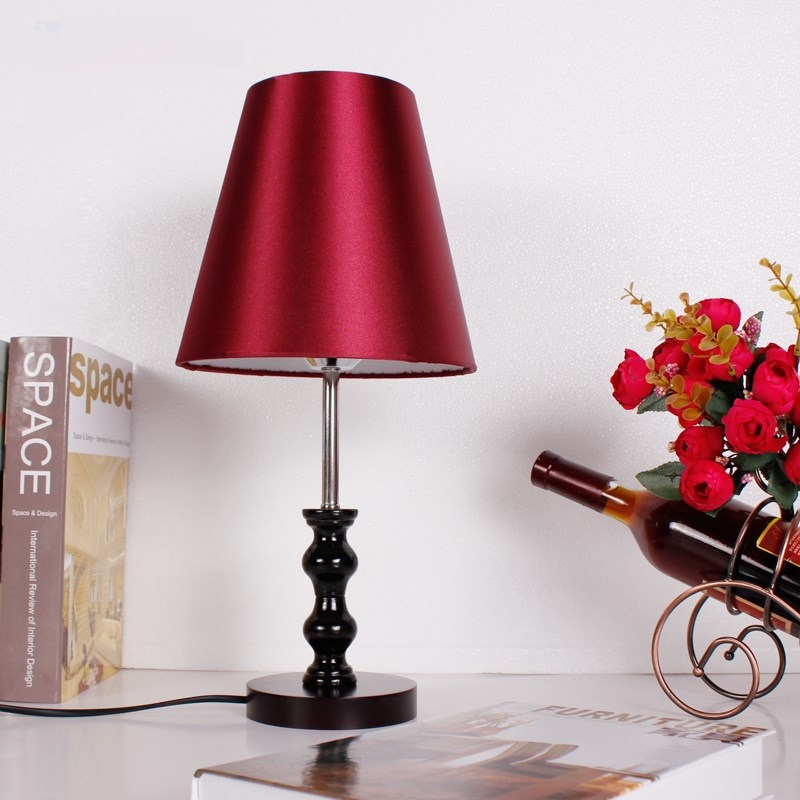 Nordic cloth desk lamp creative cafe bedroom bedside study art table lamp wooden stent red /white /coffee color lampshade ZA diesel diesel dz 7376