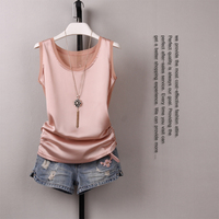 2019 Summer New Korean Version of The Elastic Camisole Female Slim Was Thin Large Size Wild Sleeveless Satin Shirt Basic Top