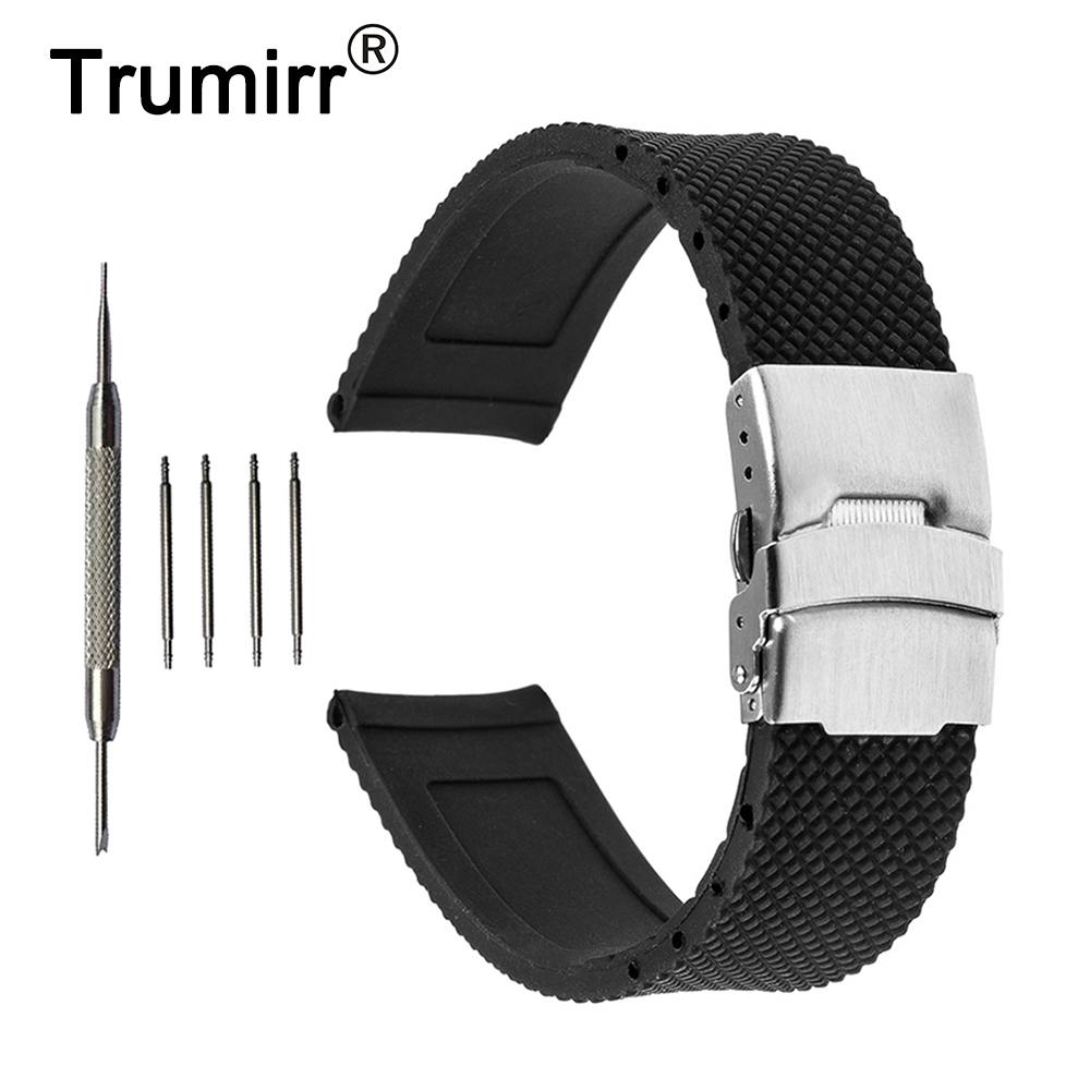 22mm Silicone Rubber Watch Band for Samsung Gear S3 Classic / Frontier Stainless Steel Buckle Strap Wrist Belt Bracelet Black silicone rubber watch band 15mm 16mm 17mm 18mm 19mm 20mm 21mm 22mm for mido stainless steel pin buckle strap wrist belt bracelet