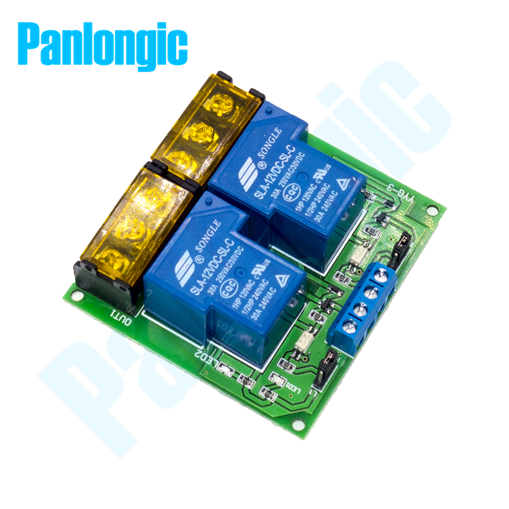 цена на Panlongic Dual 30A Relay Module Optocoupler Isolation Relay Module 5V/12V/24V Motor Reversal Controller Switch