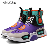 NEWDISCVRY High Top Mens Chunky Sneakers 2018 Fashion Comfortable Men Platform Dad Shoes Breathable Tenis Man Footwear Black