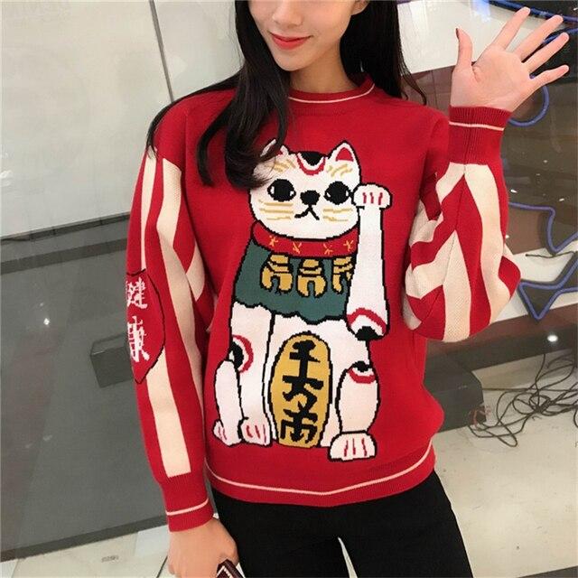 Joyeux jolies femmes dessin animé chat chanceux broderie rouge chandails Harajuku Kawaii tricoté pull hiver à manches longues pull à col rond