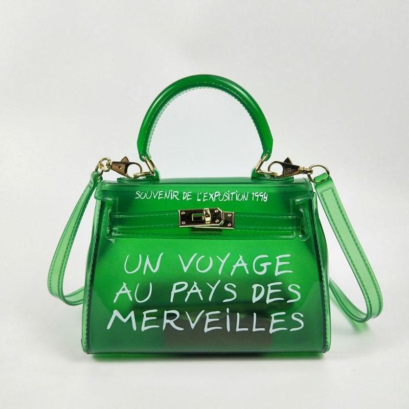 TekiEssica Satchel Handbag Women Bag Clear Jelly Transparent PVC Bag Candy  Color Tote Bag Designer Purse d17424162310a