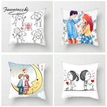 Fuwatacchi Hand Painting Colorful Couples Cushion Cover Romantic Pillow for Home Sofa Decor Sweet Picture Pillowcases