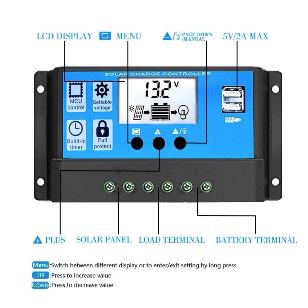 60A Solar Panel Controller Batterie Laderegler 12 V//24 V Auto Dual USB 2018 DE