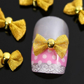 A94  10pcs/lot   Gold Bow Tie 3D DIY Alloy Nail Art Fashion Nail Accessories For Nails 3 Colors