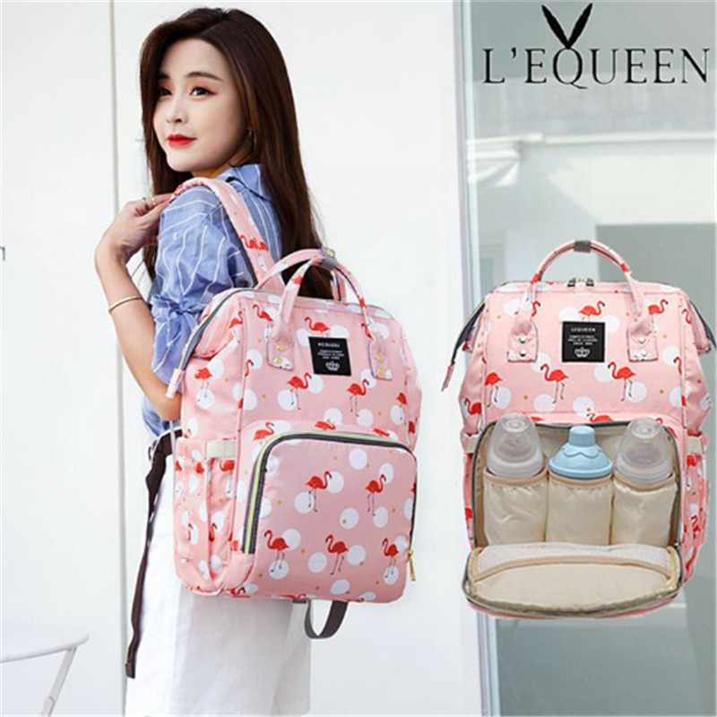 Lequeen Flamingo Diaper Bag Portable Mummy Nappy Bag Large Capacity Pattern Backpack Nursing Bag for Baby Care Travel Bag цена 2017