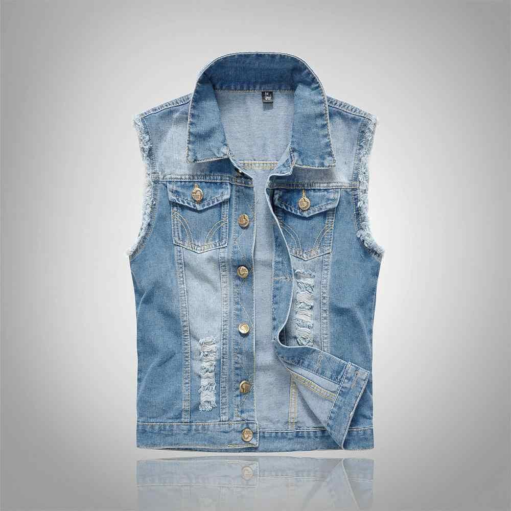 Laamei 2020 Slim Cowboy Mannelijke Jas Vest Ripped Denim Vest Mannen Jas Mouwloos Ongedwongen Vest Mannen Jean Jas 5XL