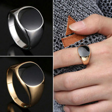 High Quality Fashion Men Polished Metal Biker Signet Rings Party Goyfriend Gift Ring Jewelry Size 8-11(China)
