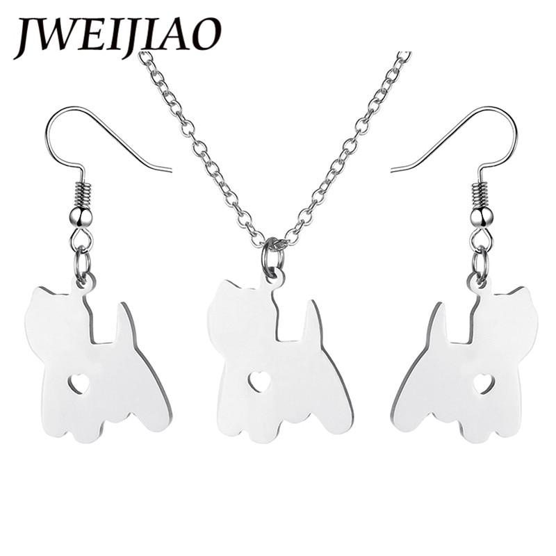 JWEIJIAO 2018 Fashion Pet Dog Pendant Jewelry Sets Necklaces Earrings Kids Women's Metal Norwich Terrier Necklaces SKU19