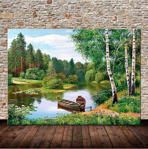 New Full Diamond Landscape Mosaic Round Handmade Crafts Cross Stitch Kits Home Decor Embroidery 5d Diy
