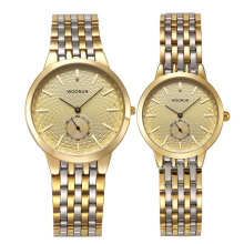 WOONUN Famous Brand Watch Luxury Gold Women Men Full Steel Quartz Ultra Thin Watches Couple Watches Fashion Lovers Watches Gift nylon watchband quartz watch lovers casual new fashion brand dw yba thin gold silver dial men and women quartz watches
